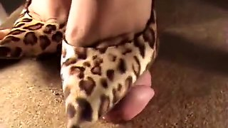 Chick In Leopard Heels Is Stepping On His Prick And He Shoo