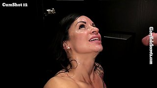 gloryhole fun with sexy dark haired babe in black room
