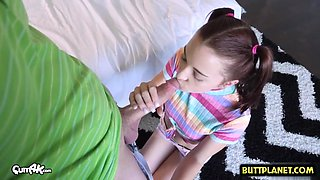 Hot sister blowjob with creampie