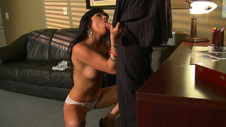 Flexible black head Sadie West desires to please a cock in the study