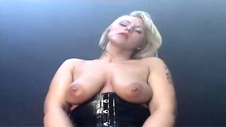 Latex and leather babe fucked from behind by rubber man