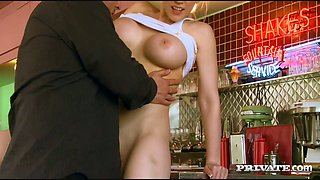 Delicious blond waitress Kagney Linn Karter sucks brutal man off by the car counter