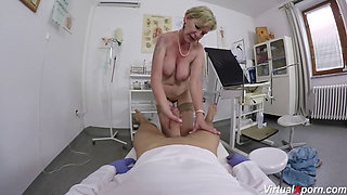 busty hairy granny gets pov fucked by her horny doctor