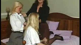 British mother I'd like to fuck plays with some lesbian babes on the daybed