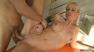 Fake tittied blond gets fucked by well endowed stud in all posisble positions