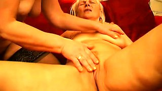 Two lusty mature women fight over this young dude's sticky jizz