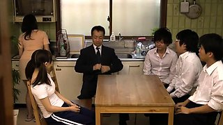 Cute school girl Rin Momoka hardcore group sex