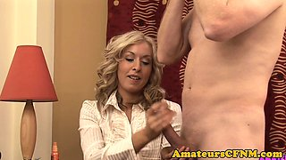 Classy CFNM milf wanking off subs cock