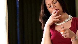 Brunette babe smoking while talking dirty