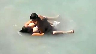 Busty bbw caught fucking in the sea