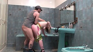 Busty french milf hard banged in the bathroom by technician