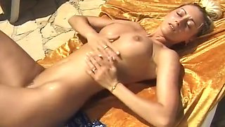 sexy busty kinky legend pissing & masturbating outdoor