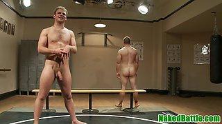 athletic stud gets handjob at wrestling