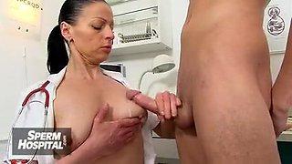 Big natural tits cougar Greta is sexy doctor