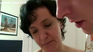 Son-in-law fucks her old hairy pussy