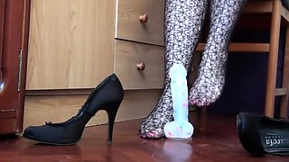 footjob training on my big dildo. heels on and off and verbal teasing