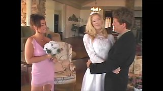 Stunning blonde bride fucks her groom with her bridesmaid