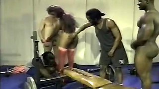 Spantaneeus Xtacy Gets Fucked By 3 Hard Cocks In The Gym