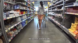 Horny girl in sexy tight gets naked in public