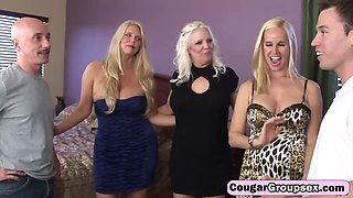 Glorious trio of busty cougars is enjoying a lustful orgy