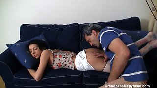 sleeping brunette fucked
