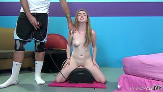 Lascivious whore Mattie Borders rides sybian machine