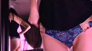Amazing teen shows her panties cameltoe and ass