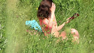 Jeny Smith sun bath naked in public