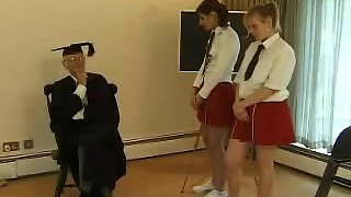 Teen schoolgirls spanked and caned by their teacher