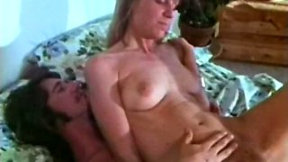 Dirty and hot vintage white chick rides on a dick with her hairy snatch