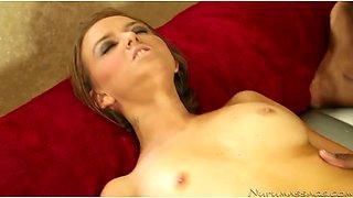 Black kinky stud fucks petite European sex doll Pressley Carter after massage rough