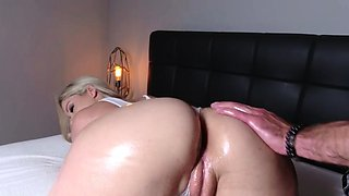 Perfect blonde Lisey Sweet got oiled and fucked
