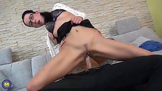 German mother Stella seduce young lucky son