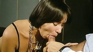 Sweet and naughty lean brunette French slut in black lingerie