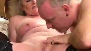 Granny in Black Stockings Fucks Old Guy