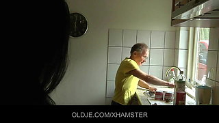 Young girl fucks hard the Old man in the kitchen