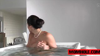 Peeping tom creep up on Kendra Lust pleasing herself in the bathtub