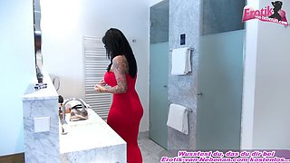 German big tits tattoo lady masturbate in bathroom