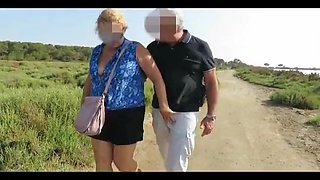 Older French couple fucking in the woods