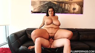 BBW brunette took off her clothes in a hotel room and started riding a rock hard cock