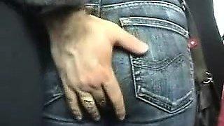 Sexy teacher flashes her ass in a public com