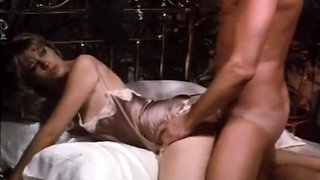 Hot white vintage blonde girl on the bed banged in doggy style