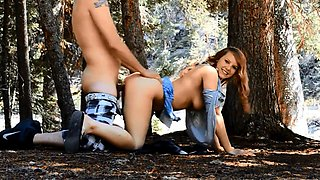 Taking a cute teeny for a walk in the woods and doing her