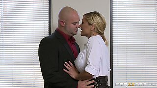 Voluptuous ex-wife gets fucked hard up her ass hole right in the office