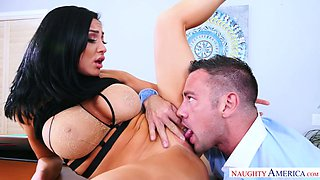 Full bosomed brunette bombshell Audrey Bitoni enjoyed steamy oral sex with kinky boss in the office
