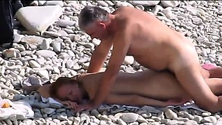 Nudist wife fucked on voyeur beach by fat husband