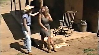 Gorgeous blonde milf with sunglasses feels horny for a young country girl