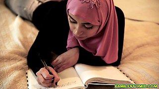 Beautiful Muslim gal Ella Knox swallows a long cock