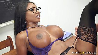 diamond jackson in sexy stockings gets pounded on the desk