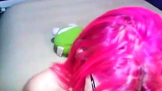 Pink haired teen with amazing big boobs sucks a cock in POV